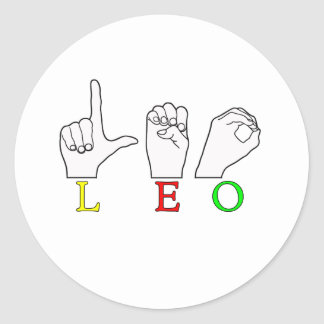 LEO FINGERSPELLED ASL NAME SIGN CLASSIC ROUND STICKER
