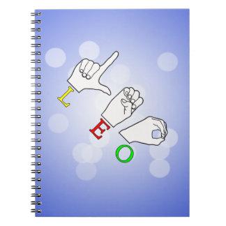 LEO FINGERSPELLED ASL NAME SIGN SPIRAL NOTEBOOK