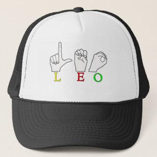 LEO FINGERSPELLED ASL NAME SIGN TRUCKER HAT