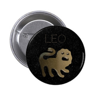 Leo golden sign 2 inch round button