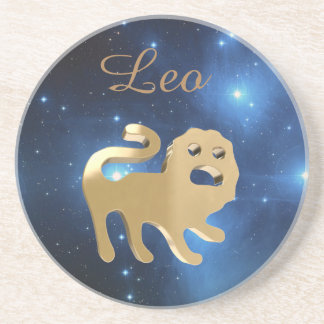 Leo golden sign beverage coasters