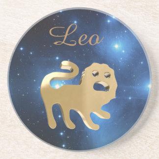 Leo golden sign coaster