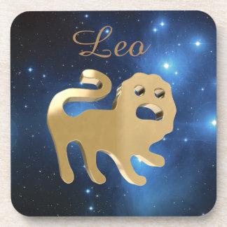 Leo golden sign drink coasters