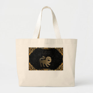 Leo golden sign large tote bag