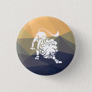Leo horoscope button. Lion round button