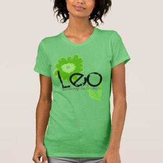 Leo Horoscope Tee-shirt In Peridot Floral Design T-Shirt
