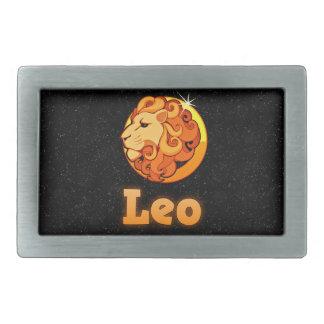 Leo illustration rectangular belt buckles