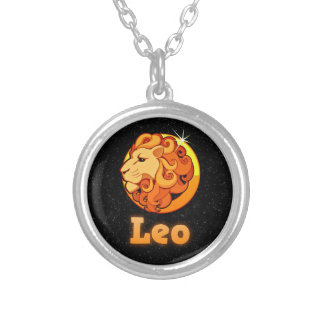 Leo illustration silver plated necklace