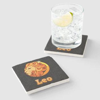 Leo illustration stone beverage coaster