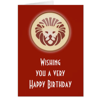 Leo July August Birthday with zodiac sign lion Card