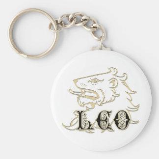 Leo Lion Astrology Sign Basic Round Button Keychain