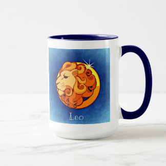 Leo, Lion Horoscope Zodiac Symbol Blue Coffee Mug