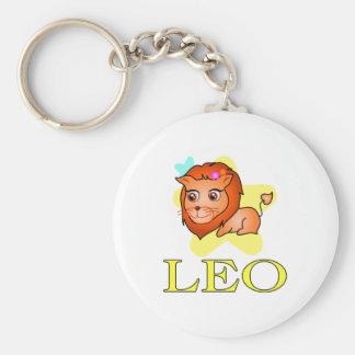 Leo Lion Basic Round Button Keychain