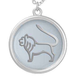 Leo Lion Star Sign Silver Pendant