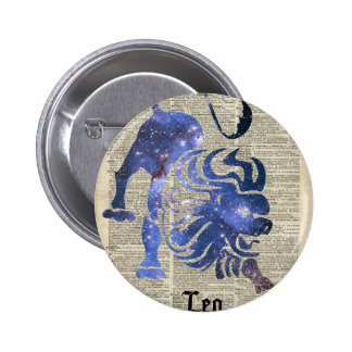 Leo Lion Zodiac Vintage  Collage On Old Book Page 2 Inch Round Button