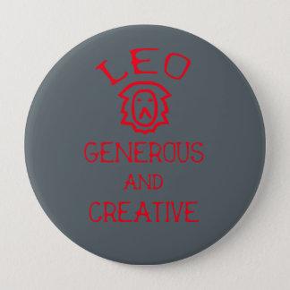 Leo (Red Text) 4 Inch Round Button