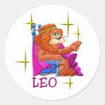 Leo (stars) round stickers