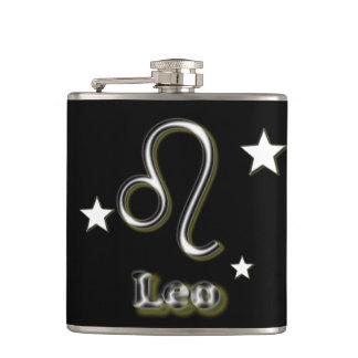 Leo symbol hip flask