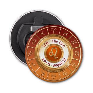 Leo - The Lion Astrological Sign Button Bottle Opener