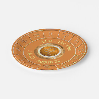 LEO - The Lion Astrological Sign Paper Plate