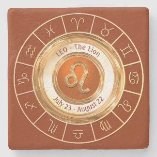 LEO - The Lion Horoscope Symbol Stone Beverage Coaster