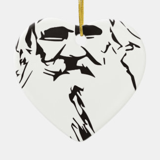 Leo Tolstoy Ceramic Heart Ornament