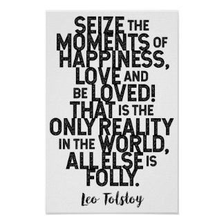 Leo Tolstoy Quote On Happiness / Love Poster