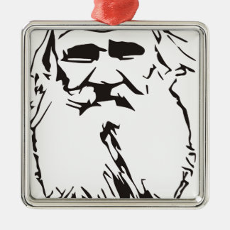 Leo Tolstoy Silver-Colored Square Ornament