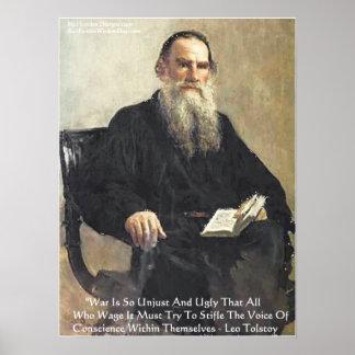 """Leo Tolstoy """"War Is Unjust"""" Wisdom Quote Poster"""