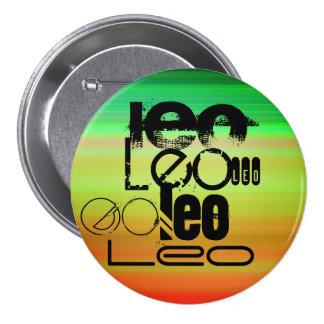 Leo; Vibrant Green, Orange, & Yellow 3 Inch Round Button