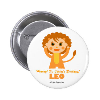 Leo Zodiac for Kids 2 Inch Round Button