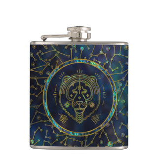 Leo Zodiac Gold Abalone on Constellation Hip Flask