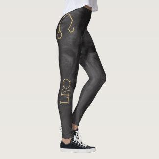 Leo Zodiac Sign | Custom Background + Text Leggings