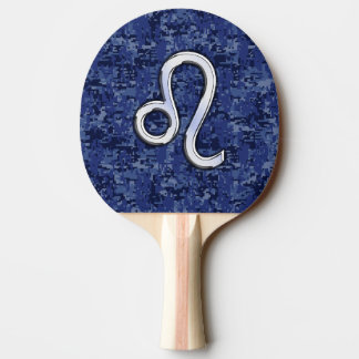 Leo Zodiac Sign on Blue Digital Camouflage Ping-Pong Paddle