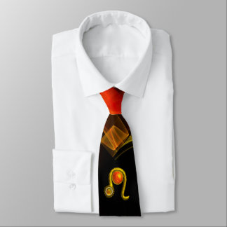 LEO ZODIAC SIGN  ,RED ORANGE FRACTAL WAVES,SWIRLS TIE