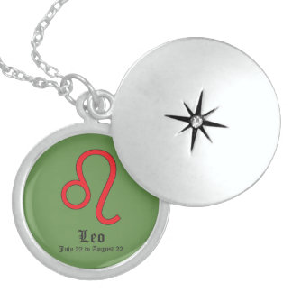 Leo zodiac sign sterling silver necklace