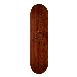 Leo Zodiac Symbol in Mahogany wood style decor Skateboard Decks