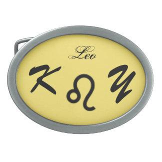 Leo Zodiac Symbol Standard by Kenneth Yoncich Oval Belt Buckle