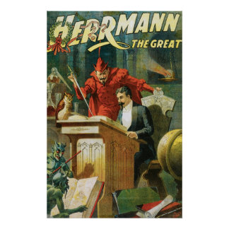 Leon Herrmann The Great ~ Vintage Magic Act Poster
