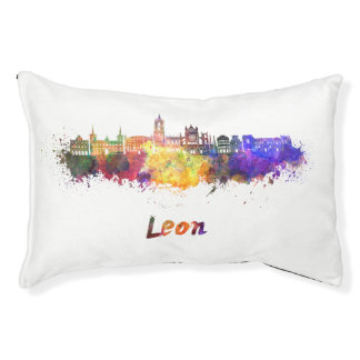Leon skyline in watercolor pet bed