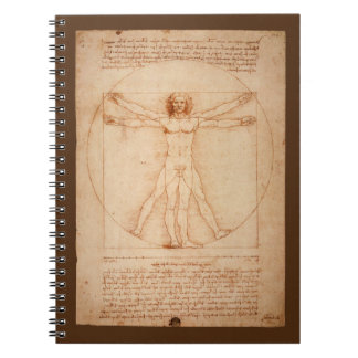 Leonard Da Vinci Anatomy of Man Vitruvian Man Spiral Notebook