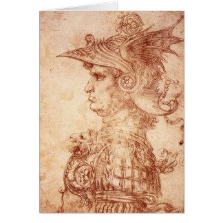 Leonardo da Vinci, Bust of a warrior. Card