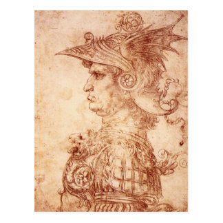 Leonardo da Vinci, Bust of a warrior. Postcard
