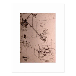 Leonardo da Vinci, drawings of machines Postcard