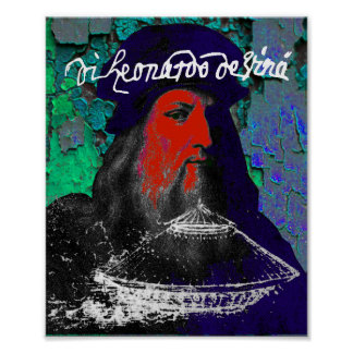 Leonardo Da Vinci Genius Mixed Media Collage Poster