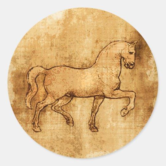 Leonardo Da Vinci Horse Art Round Sticker