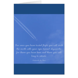 Leonardo Da Vinci inspirational flight quote Card