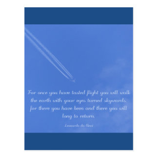 Leonardo Da Vinci inspirational flight quote Postcard