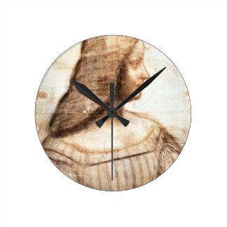 Leonardo da Vinci - Isabella D'este Painting Round Clock