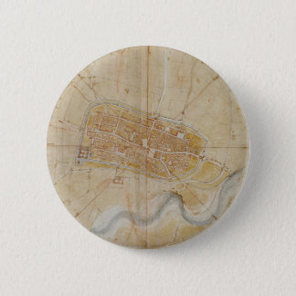 Leonardo da Vinci - Plan of Imola Painting 2 Inch Round Button